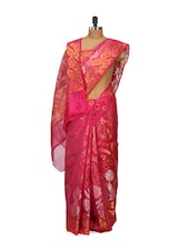 Maroon Faux Cotton Silk Saree - Bunkar