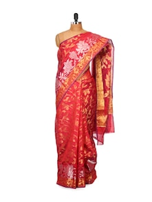 Red Cotton Silk Saree - Bunkar
