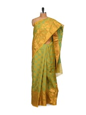 Green And Gold Cotton Silk Saree - Bunkar