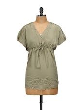 Khaki Green Satin Kaftan Top - Concepts