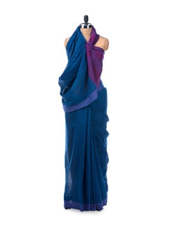 Colour block handloom cotton saree in royal blue - Desiweaves