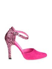 Pink Pointed Heels With Glittery Heels - Soft & Sleek