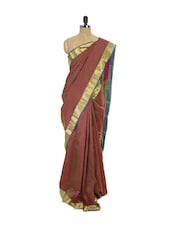 Crimson Red Kanchipuram Vasundhra Pattu Silk Saree - Pothys