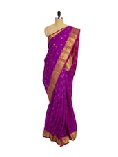 Purple Kanchipuram Vasundhra Pattu Silk Saree With Zari & Jacquard Work Pink Border - Pothys