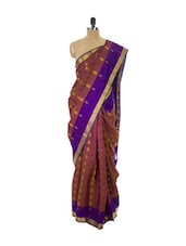 Brown Kanchipuram Vasundhra Pattu Silk Saree With Zari & Jacquard Work Purple Border - Pothys