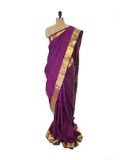 Purple Kanchipuram Parampara Pattu Silk Saree With Zari Work Gold Border - Pothys
