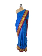 Blue Kanchipuram Handloom Silk Saree With Zari & Jacquard Work Magenta Gold Border - Pothys