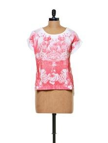Rose Print Cotton Knit Top - CHERYMOYA