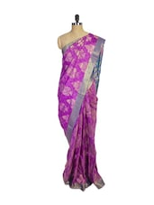 Pink Kanchipuram Mayuri Men Pattu Silk Saree With Blue Zari Border - Pothys