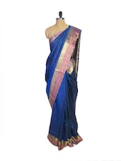 Navy Blue Kanchipuram Mayuri Men Pattu Silk Saree With Gold Zari Border - Pothys