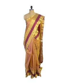 Gold Kanchipuram Arani Silk Saree With Maroon Zari Border - Pothys