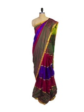 Multi Colored Kanchipuram Arani Silk Saree With Thin Gold Zari Border - Pothys