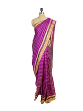 Magenta Kanchipuram Arani Silk Saree With Orange Colored Zari Border - Pothys