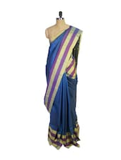 Blue Kanchipuram Arani Silk Saree With Gold Zari Border - Pothys