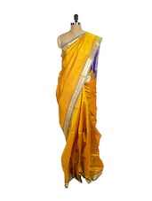 Yellow Kanchipuram Arani Silk Saree With Purple & Gold Zari Border - Pothys