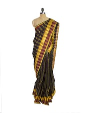 Black & Green Kanchipuram Arani Silk Saree With Gold Zari Border - Pothys