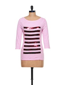 Striped Casual Top - CHERYMOYA