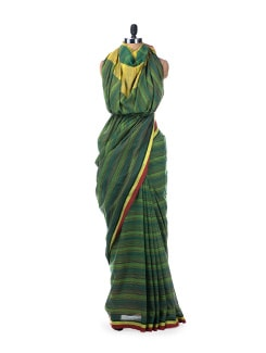 Colour Block Handloom Cotton Saree In Royal Blue - Desiweaves 8493