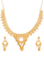 Ethnic Gold Necklace And Earrings Set - Vendee Fashion