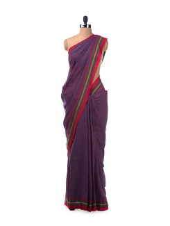 Colour Block Handloom Cotton Saree In Purple - Desiweaves