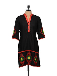 Floral Threadwork Black Cotton Kurti - RIYA