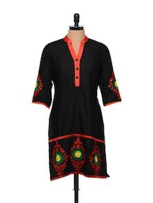 Floral Threadwork Black Cotton Kurti - RIYA