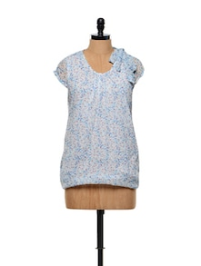 Printed Summer Top With A Bow Tie-up On The Shoulder - Younky 850223