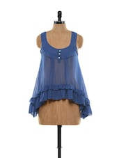 Blue Asymmetrical Top - I AM FOR YOU