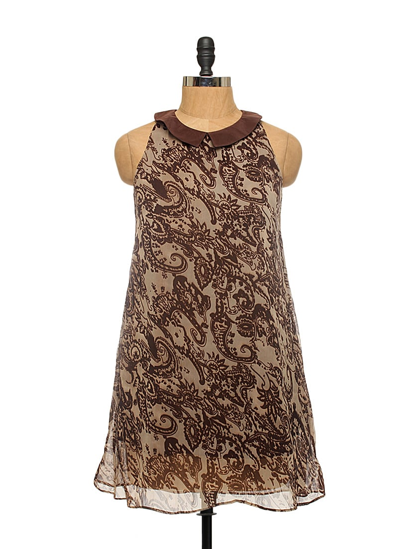 Brown Peter Pan Collar Dress - EIGHTEEN27
