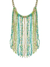 Lime Green And Turquoise Tassel Neckpiece With Dangling Crystals - Ipsa-Anu