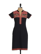 Black Short Sleeve Kurta - Aaboli