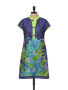 Blue And Green Floral Printed Kurta - M MERI