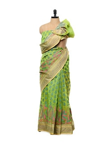 Green Cotton Silk Saree - Mandala