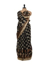 Black Brocade Work Cotton Silk Saree - Mandala