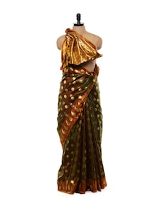 Moss Green Handloom Banarasi Silk Saree - Mandala