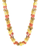 Multicolour Polyester Buttons And Beads Necklace - J STYLE