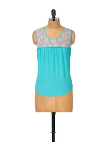 Lace Trim Cotton Blue Top - Popnetic
