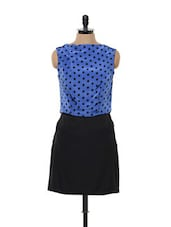 Black And Blue Polka Dotted Dress - Bluebery D C
