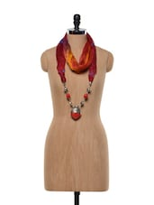 Red And Orange Scarf Necklace With Oxidized Metal Pendant - ESmartdeals
