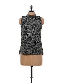 Black And White Printed Asymmetrical Top - FEMME INDIA