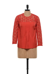 Red  Lacey Shoulder Top - FEMME INDIA
