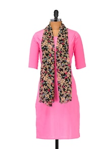 Pink Cotton Kurti With Attached Stole - Popnetic