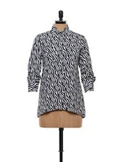 Black And White Formal Asymmetrical Shirt - FEMME INDIA