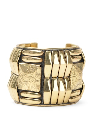 Aztec-inspired geometrically carved gold cuff