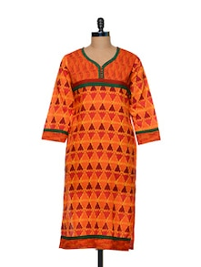 Orange Printed Kurti - Awesome