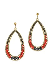 Red And Black Stud Drop Earrings - Blueberry