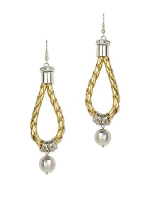 Braided leather noose gold danglers
