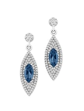 Silver Crystal Studded Earrings With Blue Stone - Tanya Rossi, Italy