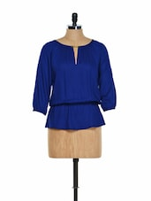 Gold trimmed cobalt blue top -  online shopping for Blouses