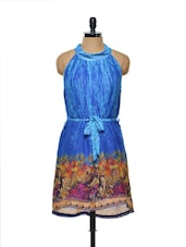 Digitally printed electric blue dress